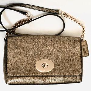 COACH Crosstown Metallic Leather Crossbody Bag